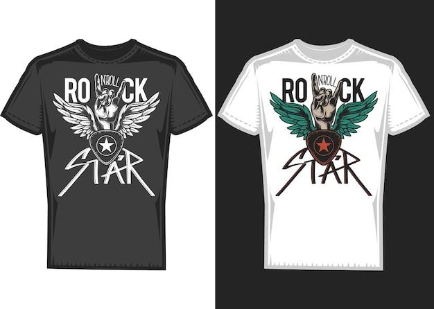 Diseño de camiseta en 2 camisetas con manos y alas.