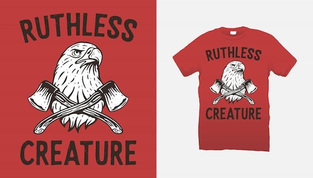 Diseño de camiseta águila y hachas.