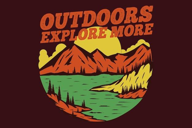 Diseño de camiseta de aire libre explorar más lago de montaña estilo dibujado a mano ilustración vintage