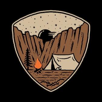 Diseño de camiseta de arte de ilustración gráfica de camp desert