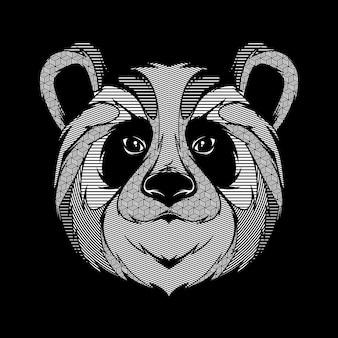 Diseño de camiseta de arte de ilustración gráfica de línea de panda animal