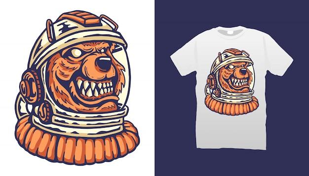 Diseño de camiseta del astronauta del oso