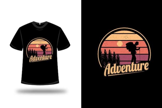 Diseño de camiseta. aventura en amarillo y naranja.
