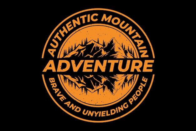 Diseño de camiseta con aventura montaña auténtica pino vintage.