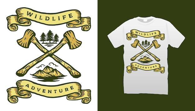 Diseño de camiseta de aventura en la montaña.