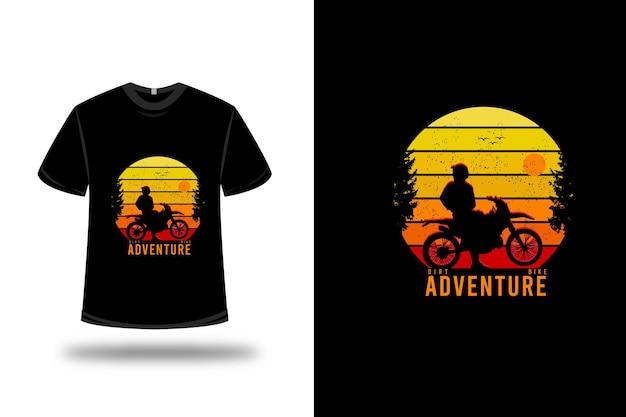 Diseño de camiseta. aventura en moto de cross en amarillo naranja y rojo.