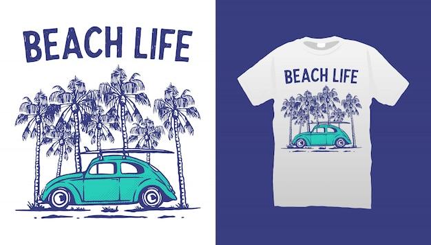 Diseño de camiseta de beach life