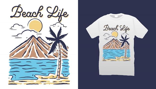 Diseño de camiseta beach life