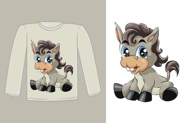 Diseño de camiseta burro lindo bebé