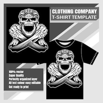 Diseño de camiseta con calavera