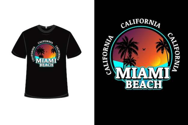 Diseño de camiseta con california miami beach en naranja y azul.