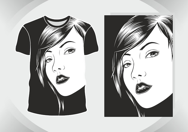 Diseño de camiseta chicas, aislado,