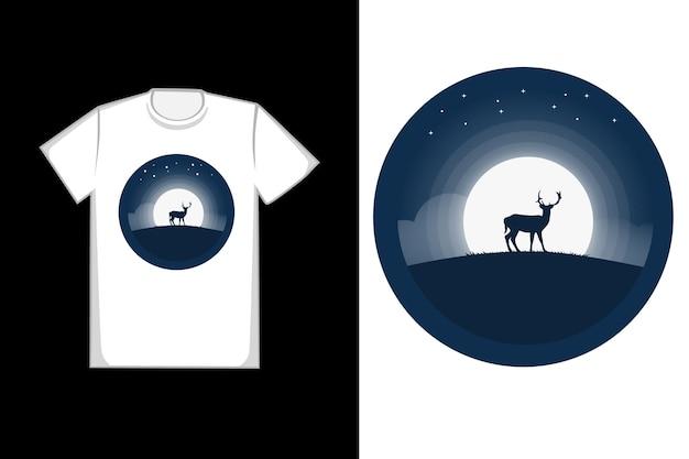 Diseño de camiseta ciervo en la noche.