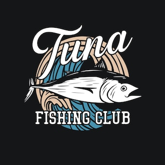 Diseño de camiseta club de pesca de atún con atún ilustración vintage