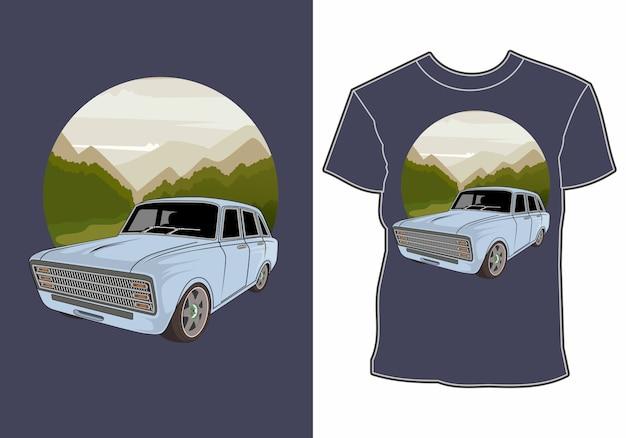 Diseño de camiseta de coches de vacaciones de verano junto a la playa.