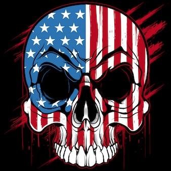 Diseño de la camiseta del cráneo de la bandera americana