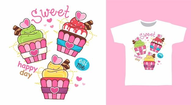Diseño de camiseta de cupcake dulce