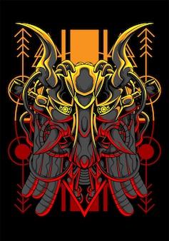 Diseño de camiseta de depredador de arte de ilustración de vector de depredador