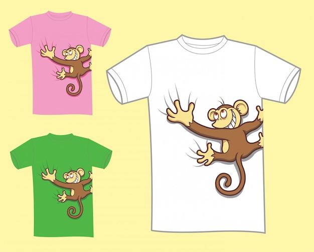 Diseño de camiseta de dibujos animados mono