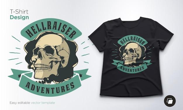 Diseño de camiseta e ilustración de calavera vintage