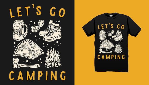 Diseño de camiseta de elementos de camping.