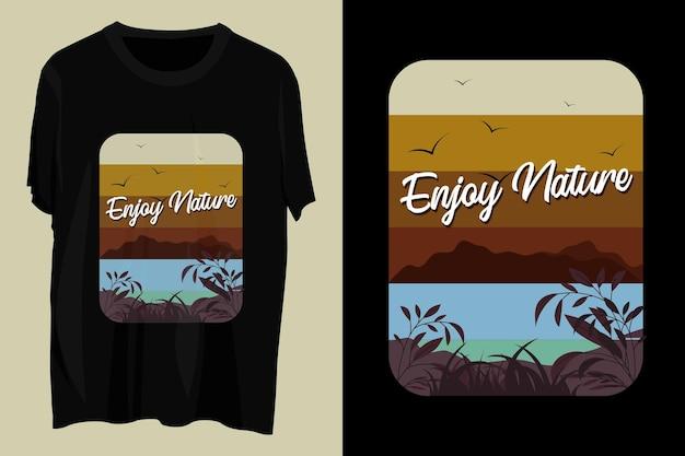Diseño de camiseta de enjoy naturaleza tipografía vintage retro ilustración