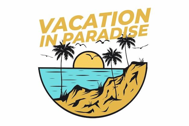 Diseño de camiseta con estilo retro en la playa paradisíaca vacaciones naturaleza vintage