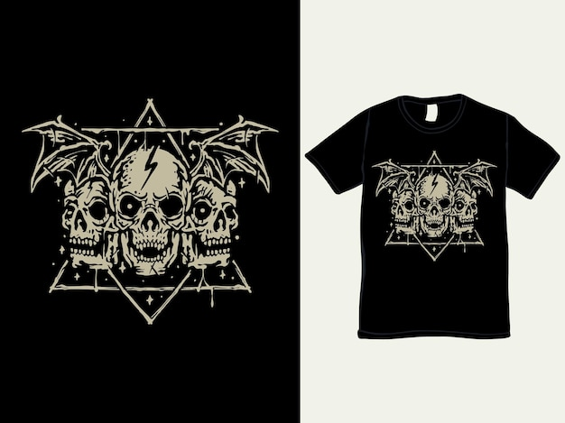 Diseño de camiseta de estilo vintage de tres cabezas de calavera demonio