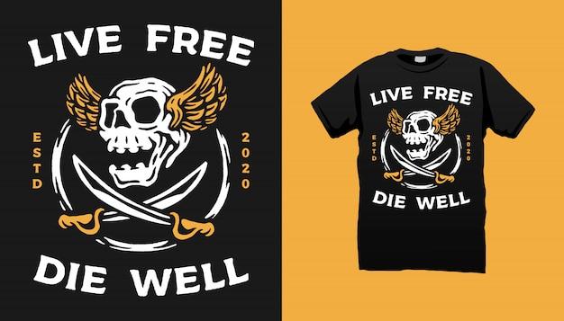 Diseño de camiseta flying skull and swords