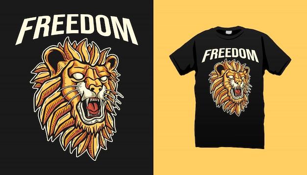 Diseño de camiseta de freedom lion head