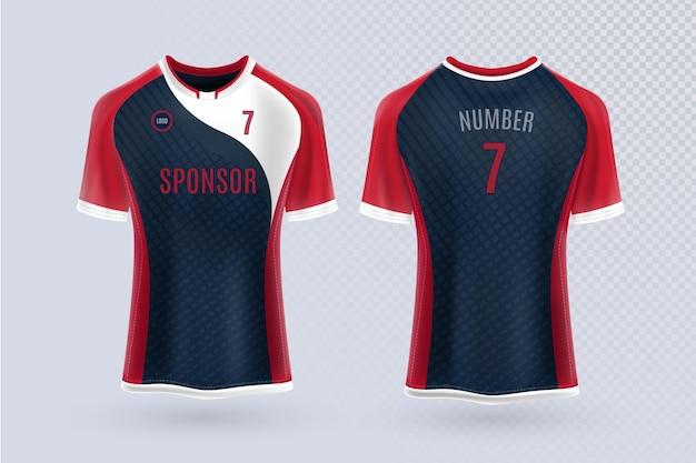 Diseño de camiseta de fútbol en la parte delantera y trasera.