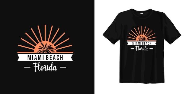 Diseño de camiseta gráfica de miami beach, florida con luz solar y silueta de palmera