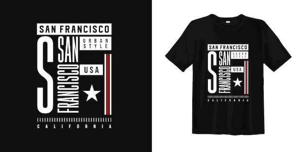 Diseño de camiseta gráfica de moda de estilo urbano sn francisco california