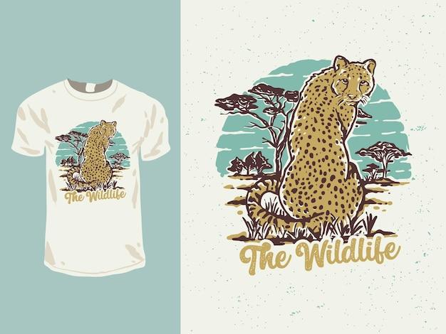 El diseño de camiseta de guepardo de vida silvestre.