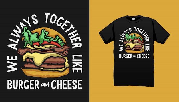 Diseño de camiseta de hamburguesa con citas