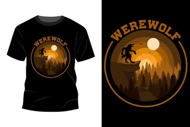 Diseño de camiseta de hombre lobo vintage retro