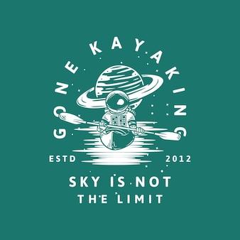 Diseño de camiseta ido a esquiar en kayak no es el límite estd 2012 con astronauta en kayak ilustración vintage