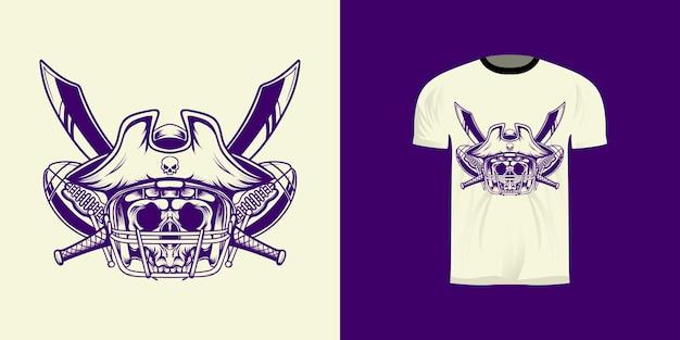 Diseño de camiseta ilustración arte lineal rey pirata fútbol americano con estilo retro