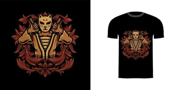 Diseño de camiseta, ilustración, kitsune, guerrero, con, grabado, ornamento