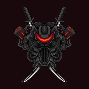 Diseño de camiseta de ilustración de máscara de mecha samurai