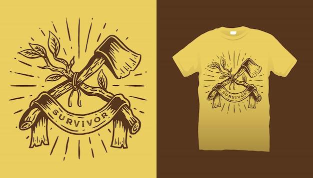 Diseño de camiseta de ilustración de rama y hacha