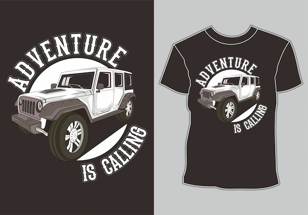 Diseño de camiseta jeep off road 4x4