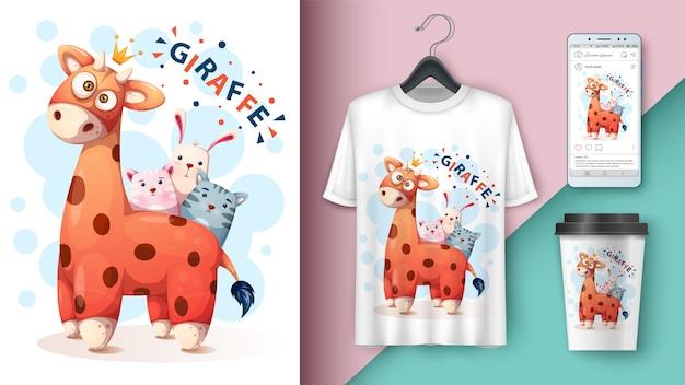 Diseño de camiseta de jirafa, gato, gatito, conejo.