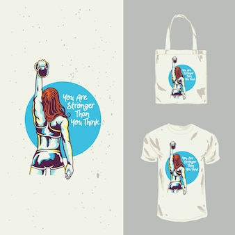 Diseño de camiseta lady fitness