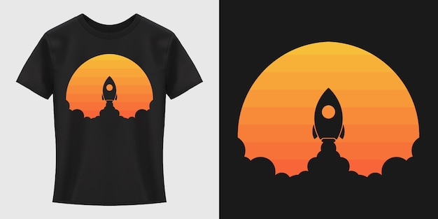 Diseño de camiseta de lanzamiento de cohetes