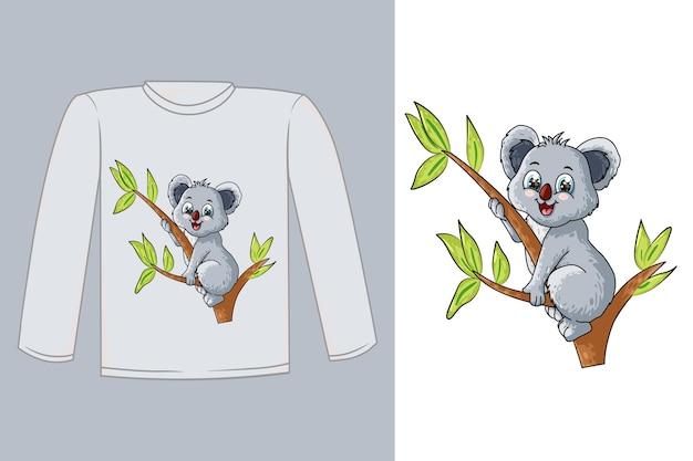 Diseño de camiseta lindo bebé koala en un árbol