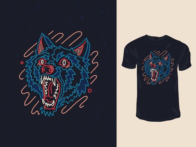 Diseño de camiseta de lobo enojado neón monoline