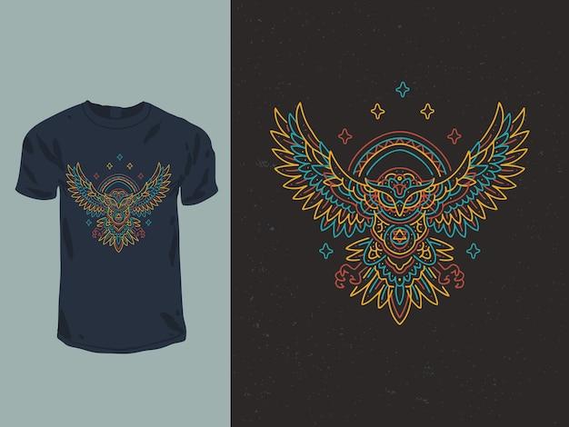 Diseño de camiseta mandala búho neón