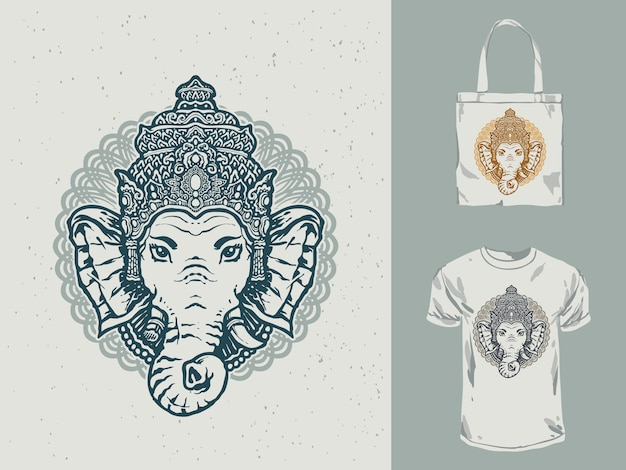 Diseño de camiseta mandala ganesha blanco negro