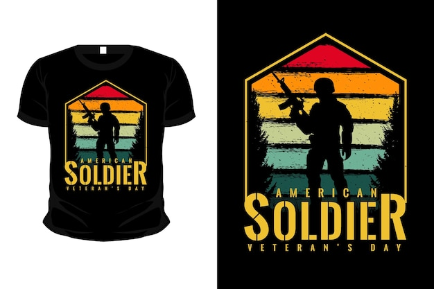 Diseño de camiseta de maqueta de silueta de mercancía de soldado americano